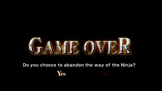 ninja gaiden game over